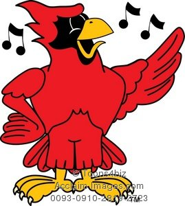 Cardinal clipart cartoon. Singing stock photography