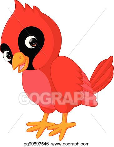 Eps illustration beautiful bird. Cardinal clipart cartoon
