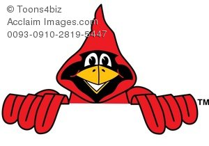 Cardinal clipart cartoon. Peeking over
