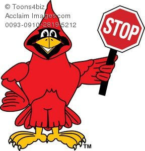 Cardinal clipart cartoon. Holding a stop sign