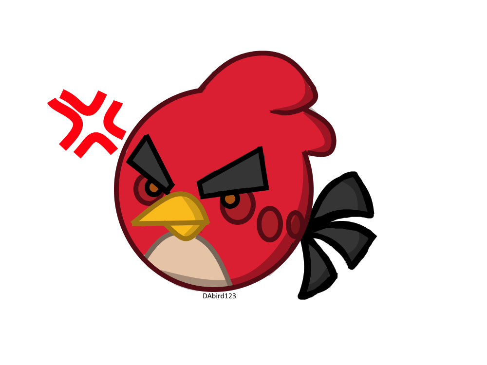 Angry birds red by. Cardinal clipart chibi