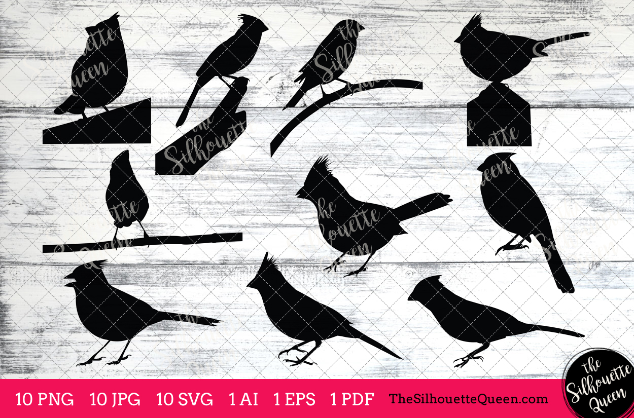 Silhouette by the queen. Cardinal clipart clip art