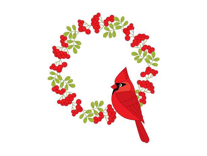Christmas wreath with digital. Cardinal clipart decoration
