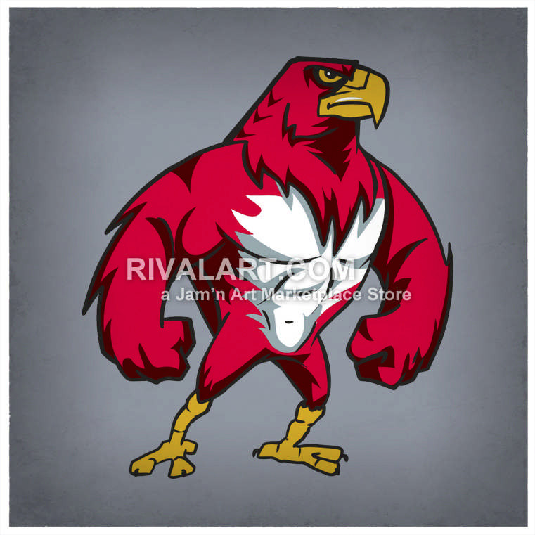 Hawk graphic in color. Cardinal clipart fighting