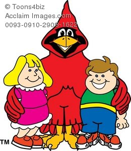 Cartoon with smiling children. Cardinal clipart happy