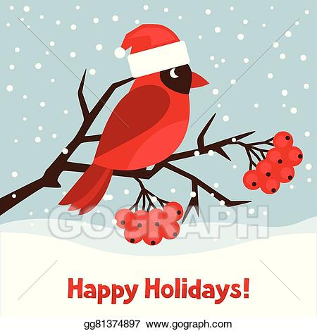 Eps vector holidays greeting. Cardinal clipart happy