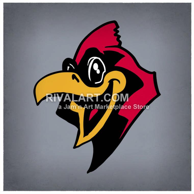 Cardinal clipart happy. Cardinals mascot head in