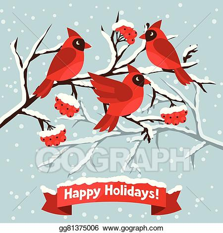 Cardinal clipart happy. Vector art holidays greeting