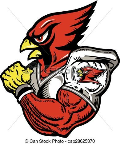 Vector football player stock. Cardinal clipart illustration
