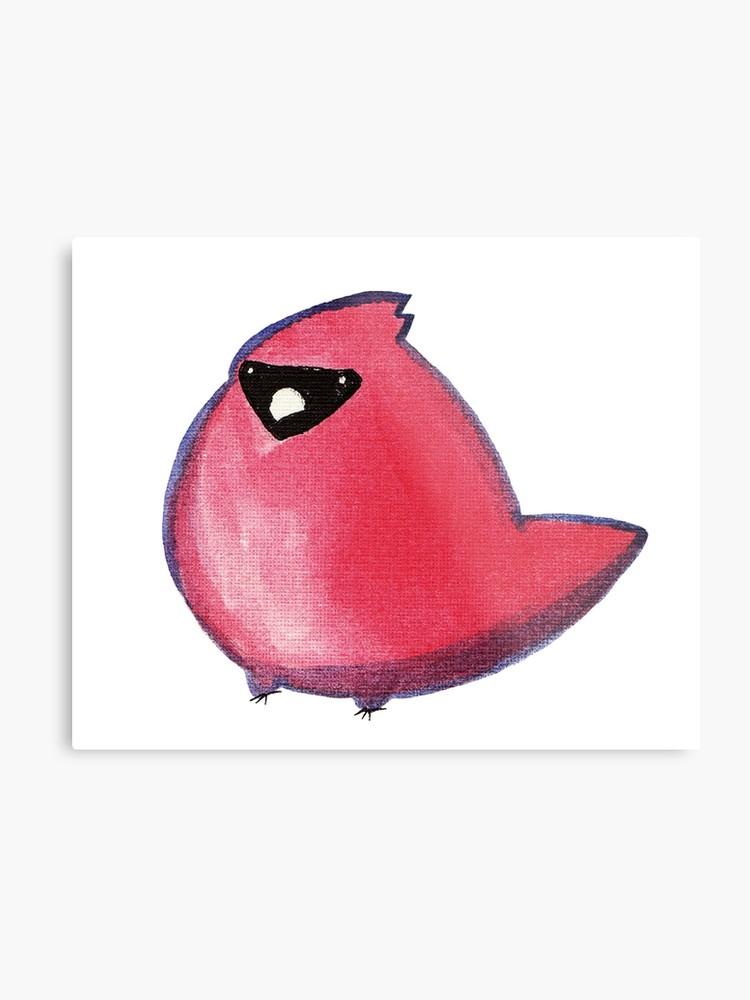 Watercolor metal print . Cardinal clipart kawaii