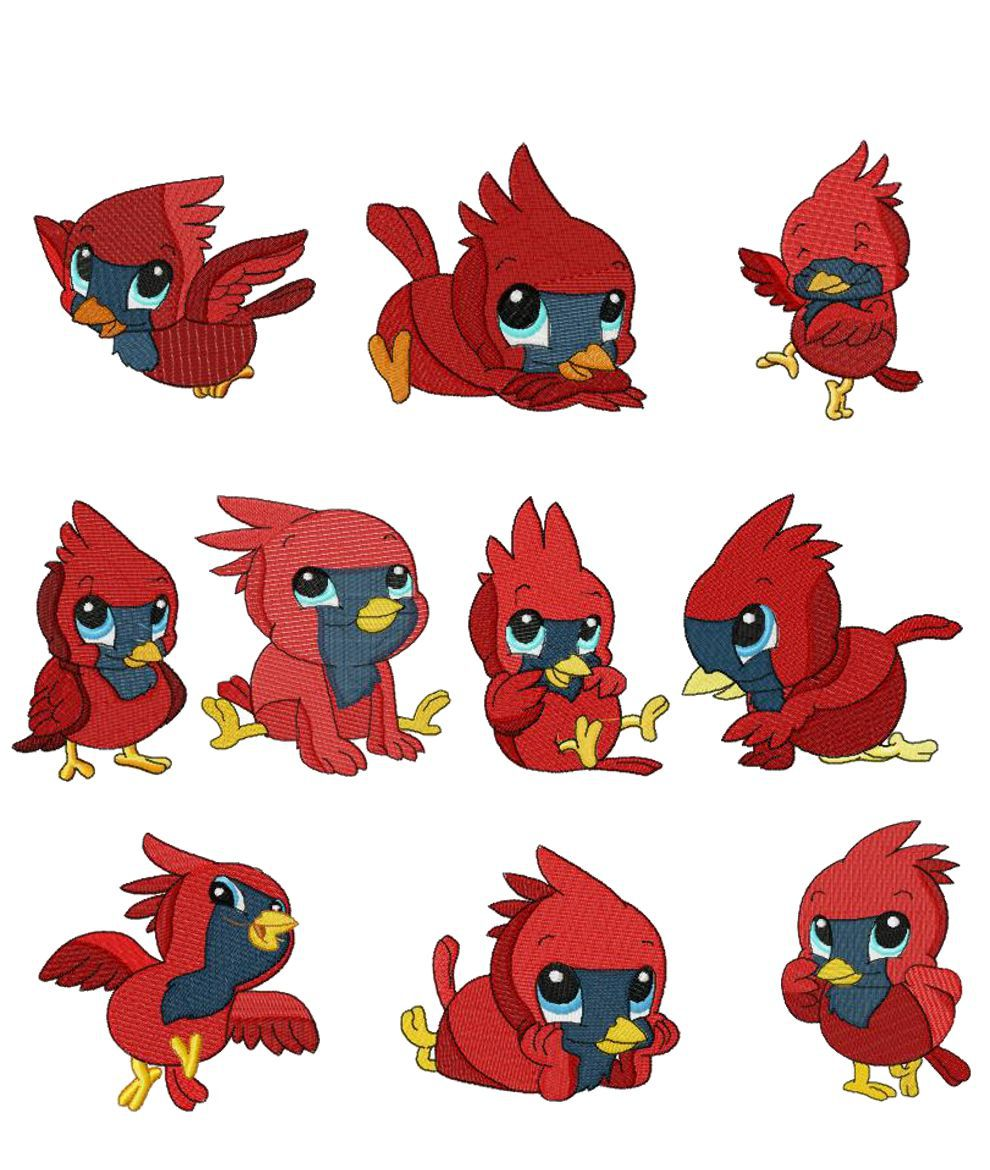 collection of cute. Cardinal clipart kawaii