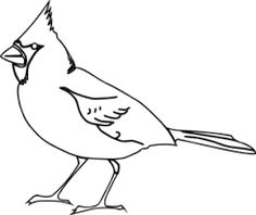 Outline bird tattoo image. Cardinal clipart line drawing