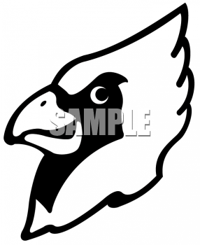 Cardinal clipart mascot. Black and white