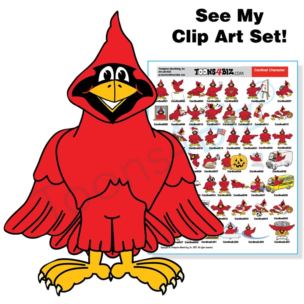 Cardinal Mascot Clip Art Bundle