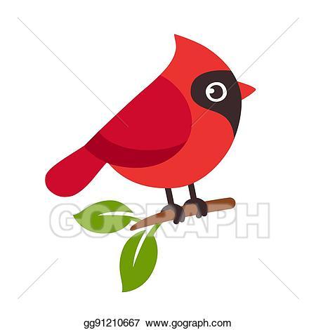 Cardinal clipart red bird. Vector illustration eps