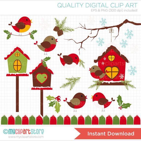 Christmas birds winter digital. Cardinal clipart red robin