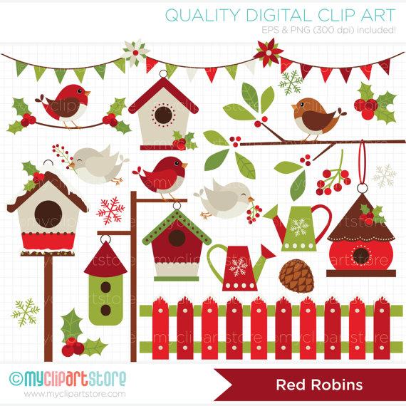 Cardinal clipart red robin. Christmas birds winter