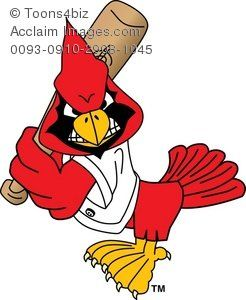 Cartoon playing baseball acclaim. Cardinal clipart softball
