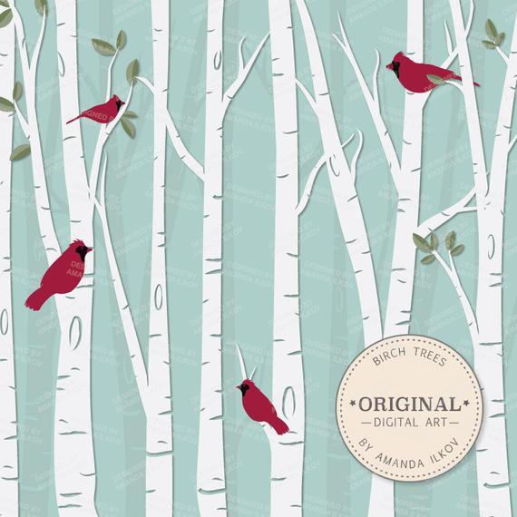 Cardinal clipart tree clipart. Premium birch vector set