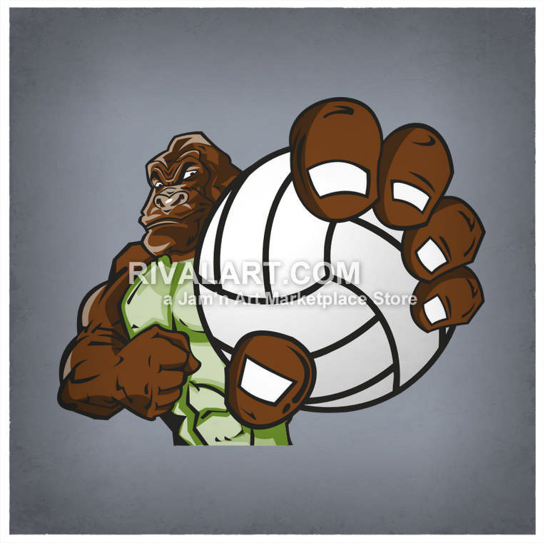 Gorilla holding a graphic. Cardinal clipart volleyball