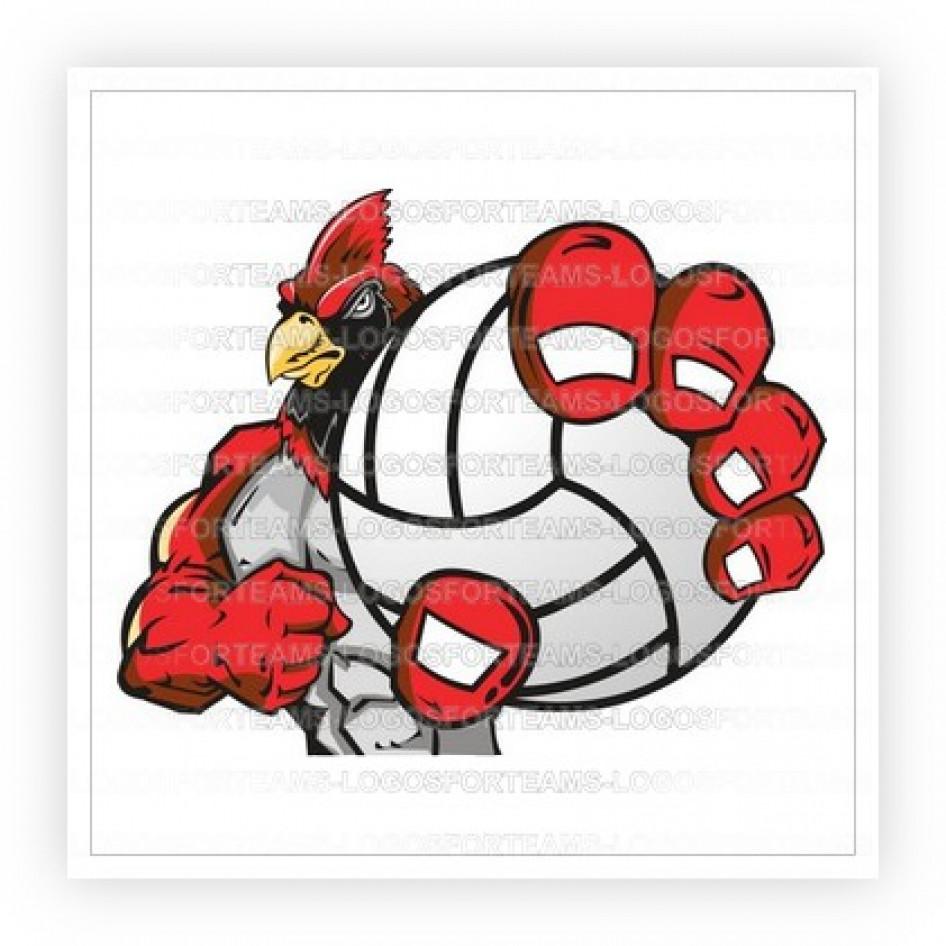 Mascot logo part of. Cardinal clipart volleyball