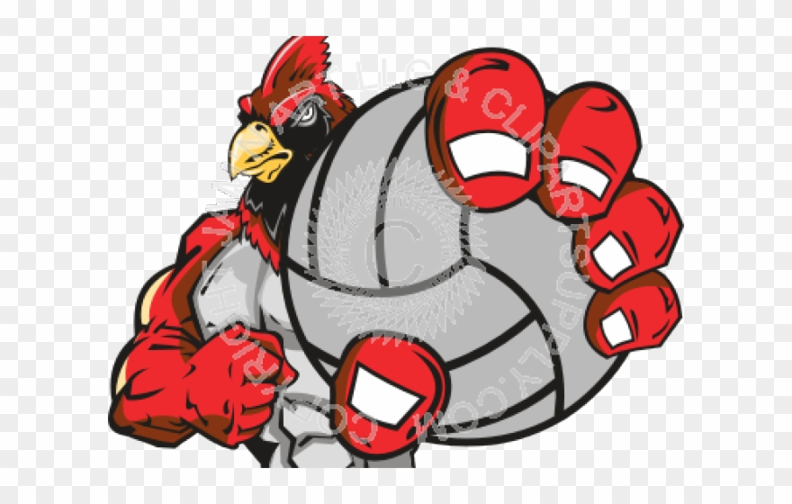 Mascot . Cardinal clipart volleyball