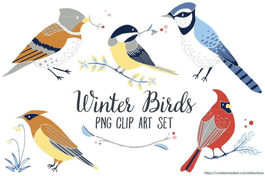 Winter clip art illustrations. Cardinal clipart woodland bird