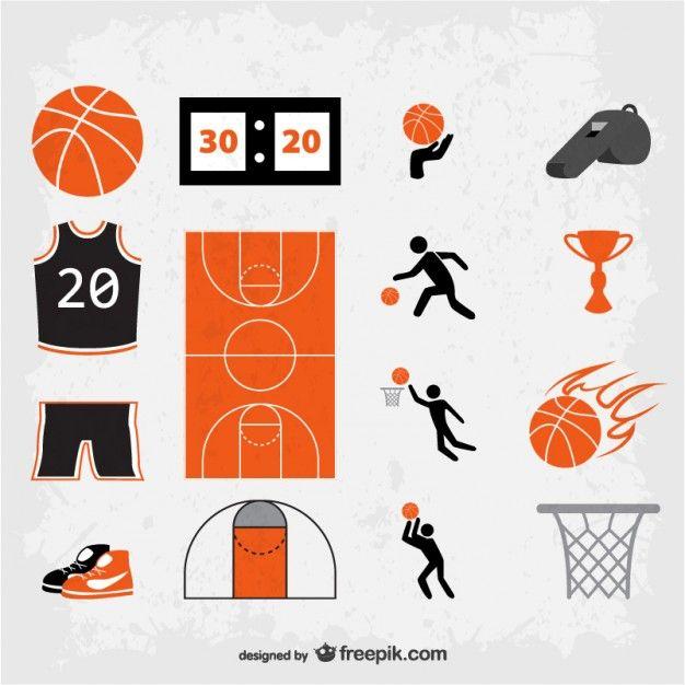 S mbolos de basquete. Cards clipart basketball