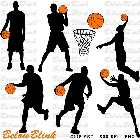 Cards clipart basketball. Players silhouettes clip art