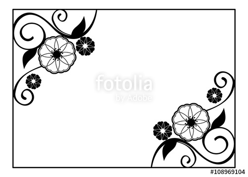 Cards clipart black and white. Flower frame decorative with