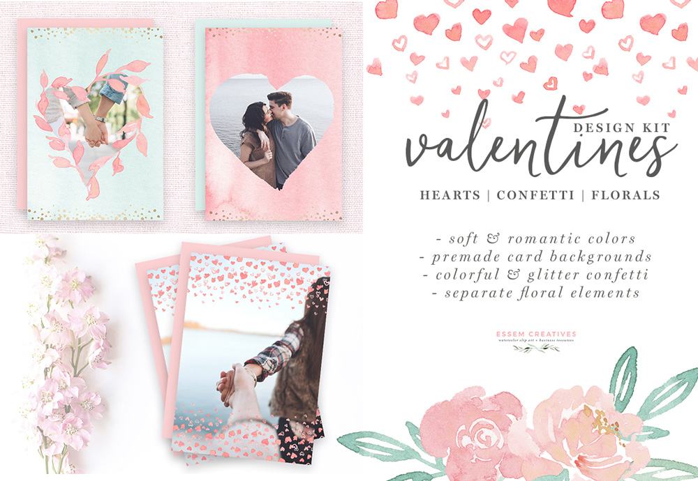Cards clipart boarder. Watercolor valentines day heart