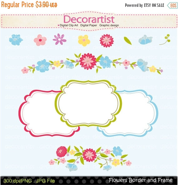 On sale flowers border. Cards clipart boarder