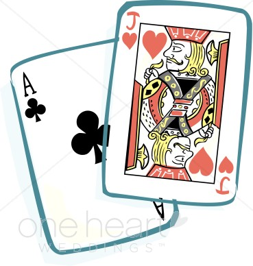 Blackjack cards. Bed clipart honeymoon
