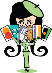 A colorful of woman. Card clipart cartoon