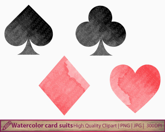 Cards clipart casino card. Playing suits watercolor clip