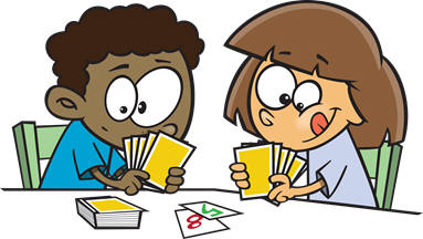 Kids playing card games. Cards clipart clip art