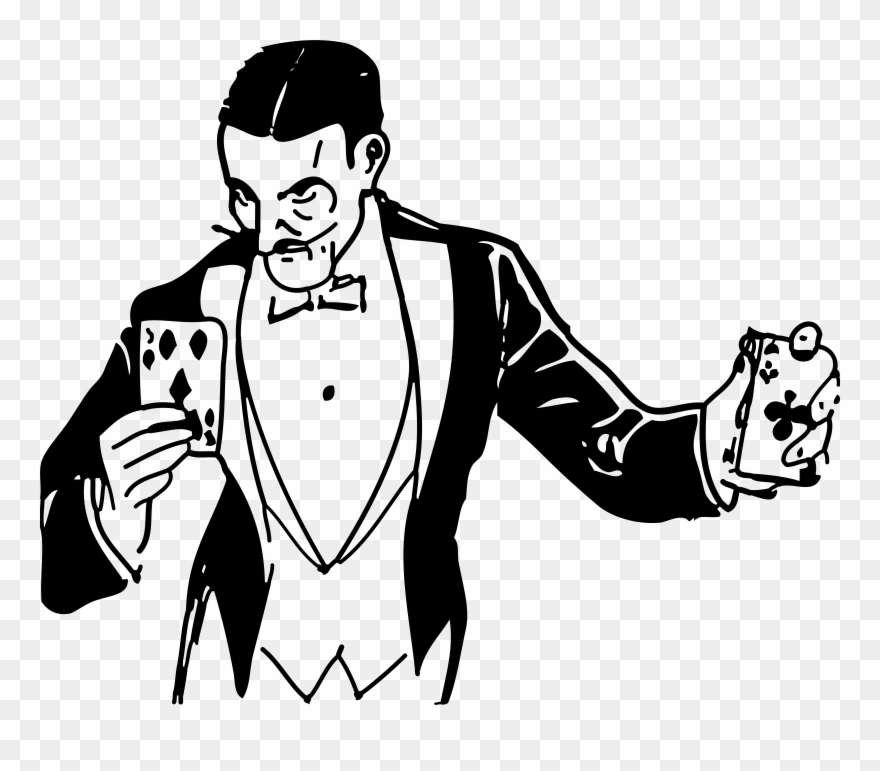 Cards magic trick with. Magician clipart drawing