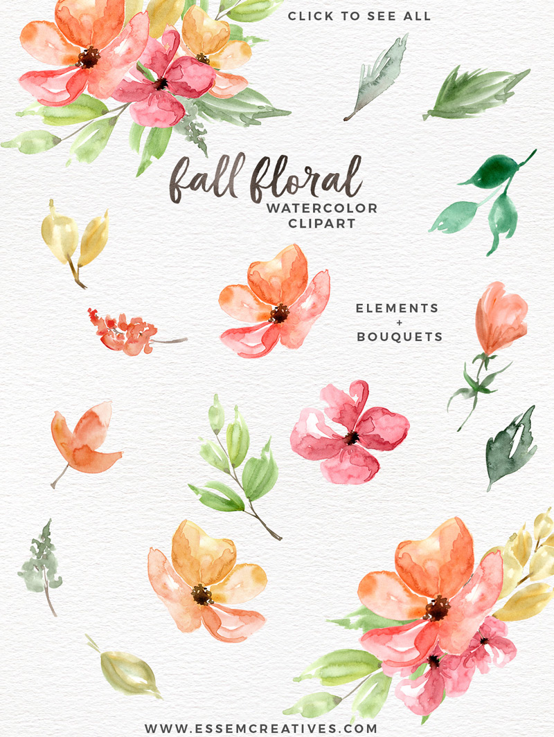 Autumn fall watercolor floral. Cards clipart flower