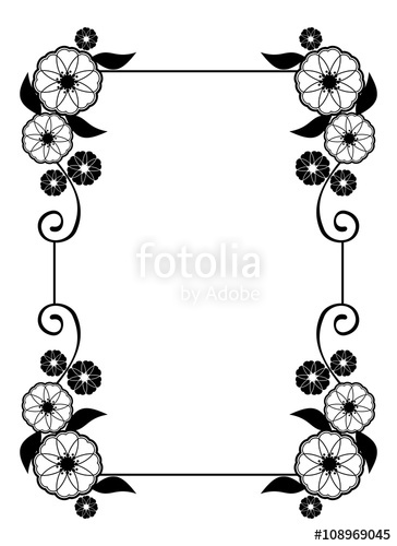 Cards clipart flower. Frame decorative black and