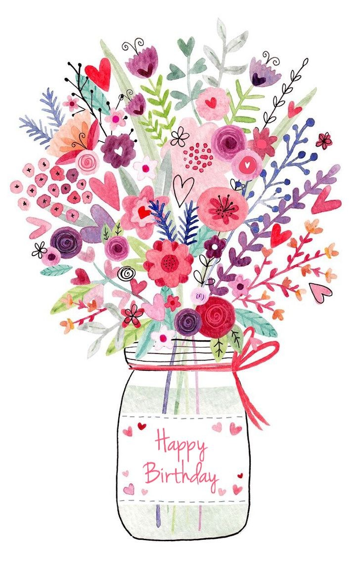 Cards clipart flower. Greeting card happy birthday