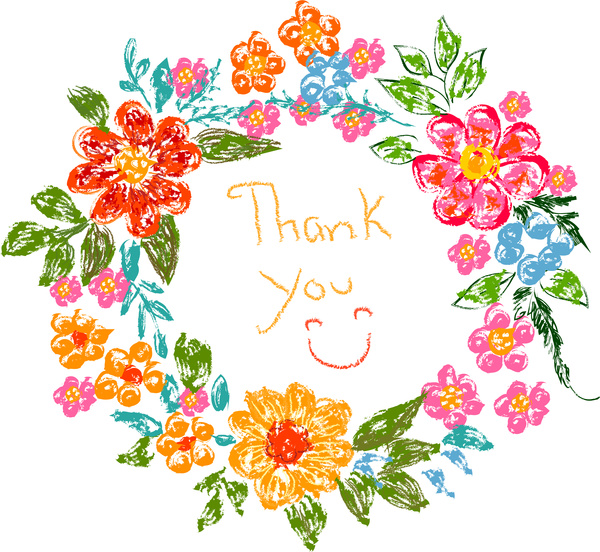 Frame thank you free. Card clipart flower
