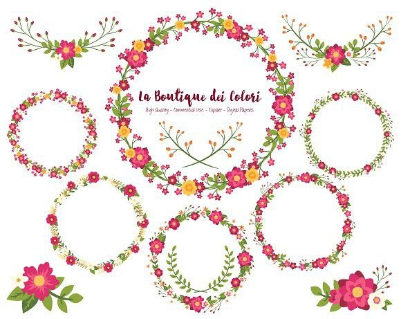 Ruby red wreath wedding. Cards clipart flower