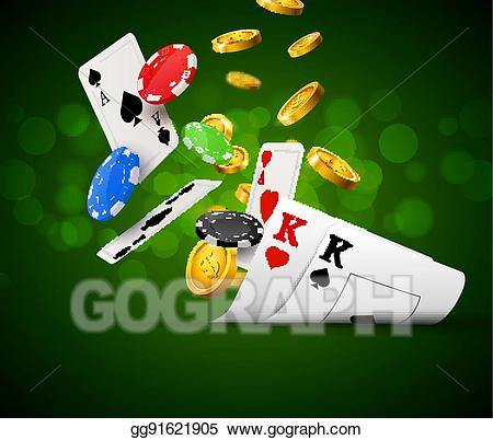 Vector stock poker chips. Cards clipart gamble