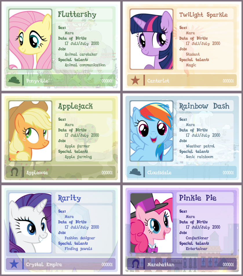 Mlp id template updated. Cards clipart identification card