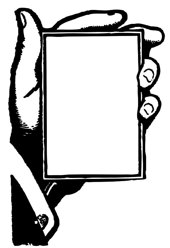 Hand holding blank card. Cards clipart plain