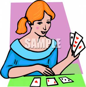 Cards clipart playing. Girl