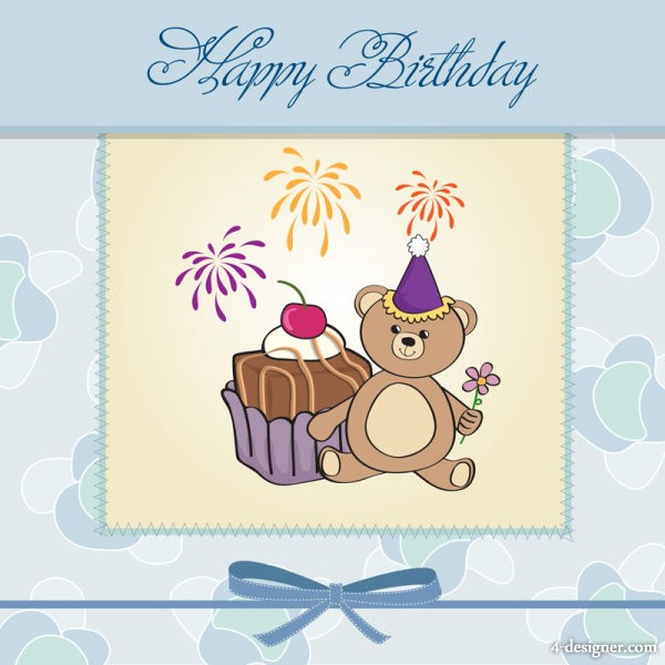 Cards clipart vector.  designer cartoon birthday