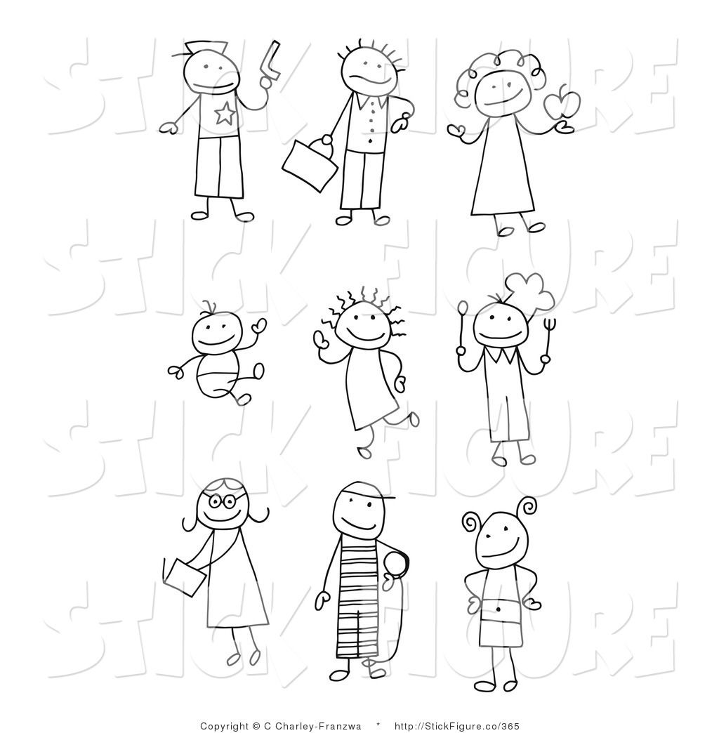 Careers clipart black and white. People figures clip art