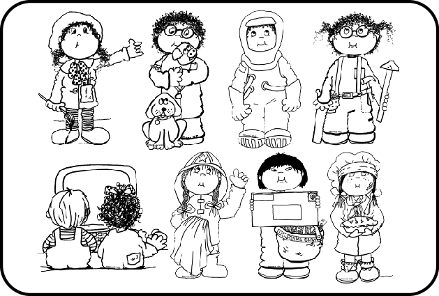 Community helpers career clip. Careers clipart black and white