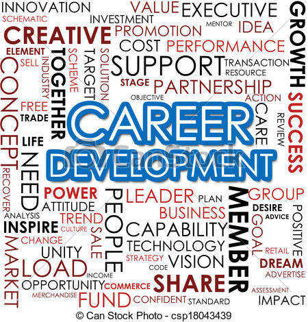 Development word cloud panda. Career clipart career management